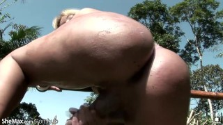 Horny shebabe stuffs her shecock in milk bottle and cumshots Riding boobs