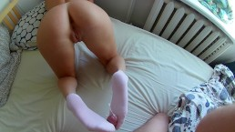 Sexual Reverse Sockjob And Cumshot on Socks. Wet Pussy & Big Ass, Footjob