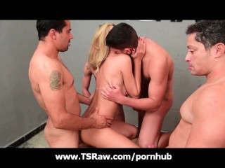 Busty Blonde Shemale Group Gangbang