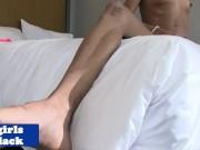 Nubian transsexual strokes her big black cock