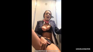 Flight attendant uses in-flight wifi to cam on camsoda!  flight attendant big tits babe outside masturbate bathroom hardcore strip brunette hottie orgasm bald pussy plane camsoda shaved pussy