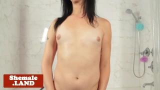 Solo in jerking cock tattooed bathroom tgirl shemalexxx shower