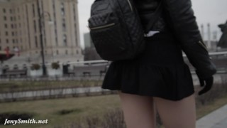 Preview 2 of Jeny Smith seamless pantyhose public upskirt