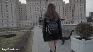 Preview 4 of Jeny Smith seamless pantyhose public upskirt