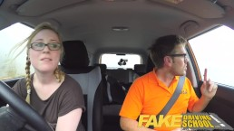 Fake Driving School pigtail blonde cutie with hairy teen pussy creampie