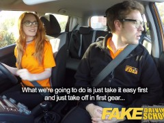 Fake Driving School sexy ginger geek girl in glasses with beauitful body