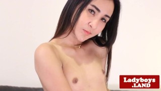 Finelooking asian tranny solo tugging session