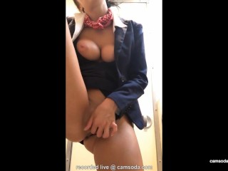 Veronic Ricci Fucking, latina stewardess joins the masturbation mile high club in the lavatory