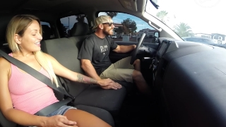 Fucking in Public Drive Threw Car Wash Boobs kissing