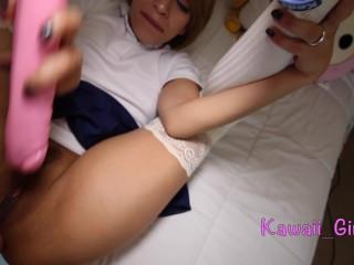 Teen School Girl Gets Double Stuffed with Big Cum Shot