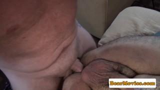 Mature inked bear facializing hairy bottom Blowjob muscle