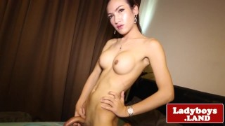 Busty Thai tranny solo rubbing her meat shaft Blowjob contact