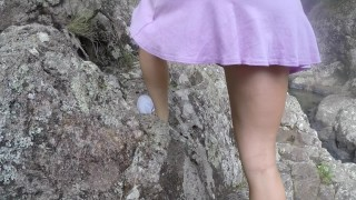 SECRETCRUSH - Flashing Babe In Crowded Public Oiled Waterfalls Pussy Fuck  teen squirt point of view oil overload public flashing Pov Blowjob outside public nature young squirting public up skirt orgasm up skirt waterfalls forest oil pussy fuck