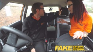 Fake Driving School American Teen Creampied by British Instructor Brunette blowjob