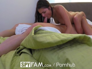 SpyFam Petite brunette step sister Adria Rae fucks her step brother