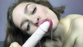 Sloppy Dildo Bj and Huge Squirts