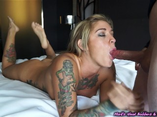 Tattooed whore caught cheating Blackmailed for a piece of ass!