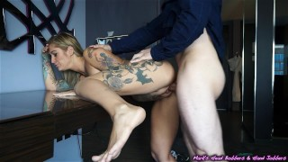 Tattooed whore caught cheating; spreads legs to keep scumbag quiet! Brunette cheating