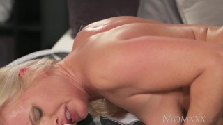 MOM Blonde MILF in stockings and lingerie deepthroats and fucks boyfriend porno