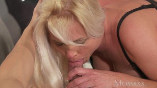 MOM Blonde MILF in stockings and lingerie deepthroats and fucks boyfriend Missionary big