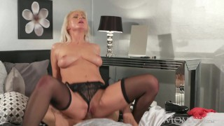 MOM Blonde MILF in stockings and lingerie deepthroats and fucks boyfriend Group big