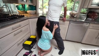 Don't Break ME- Asian teen gets her pipes cleaned  big cock plumber asian blowjob cumshot small tits young petite teenager doggystyle facial dontbreakme kitchen