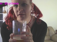 Tgirl Lycha pees in a cup then drinks it all