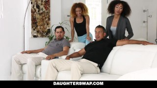 DaughterSwap - Ebony Daughters Punished & Fucked For Sneaking Out  big cock girl small dad black foursome big dick interracial daughter petite daughterswap latino latin group facial group sex riley king father kendall woods