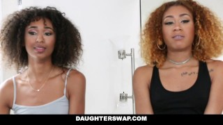 DaughterSwap - Ebony Daughters Punished & Fucked For Sneaking Out Style blowjob