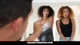DaughterSwap - Ebony Daughters Punished & Fucked For Sneaking Out porno