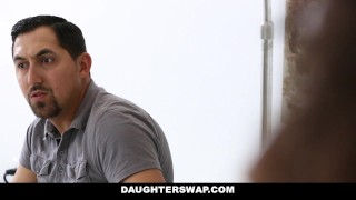 DaughterSwap - Ebony Daughters Punished & Fucked For Sneaking Out Dean fitness