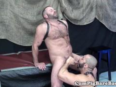 Mature bear assfucks suspended ass before cum