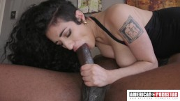 Arabelle gives sloppy deep throat and gets fucked @ American-Pornstar