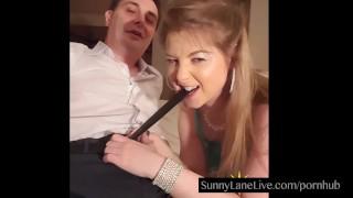 Sexy Sunny Lane Sucks Off Lucky Fan!