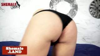 Busty latina tgirl with booty tugging cock