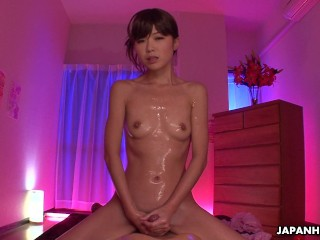 Slutty Asian babe getting her man off with a massage
