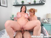 Hottest Threesome! Busty MILF Sara Jay Fucks Her Airbnb Guests!