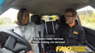 Fake Driving School Pretty black girl seduced by driving instructor Cock tiny