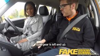 Fake Driving School Pretty black girl seduced by driving instructor Spoon choke