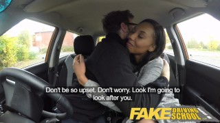 Girl school driving fake pretty black by driving instructor seduced blowjob fakedrivingschool