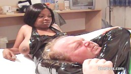 Big boobed ebony BBW wrestles and dominates a chubby white man
