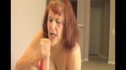 Mature woman handjob