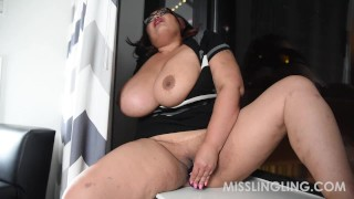 Asian Busty BBW Plays With Pussy Looking Out Window  vibrator orgasm big boobs sex toys natural tits solo masturbation bbwland solo female glasses dildo misslingling chubby