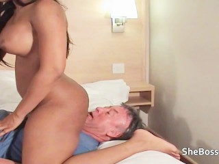 Old man worships huge nippled ebony MILF
