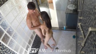 SpyFam Step sister Nina North watched by step brother in the shower  family sex nina north spyfam hd blowjob fetish hardcore kink brunette reality sex spy cream pie step brother shower sex step sister