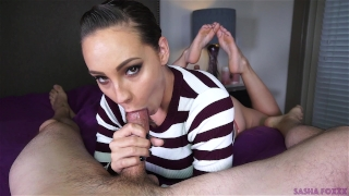Mouth full of cum! Yum! Girl strap