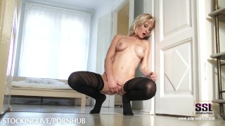Blonde stockings masturbates foot babe lover in sslproduction toying