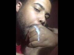 Going to hard on his cock fat cumshot