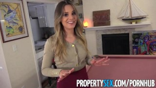 PropertySex - Extremely hot real estate agent cheers up client hard sex big cock point of view heels blowjob blonde babe great sex pov orgasm propertysex missionary real estate agent funny facial doggystyle