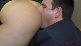 Boss Nina Elle Makes Her Employee Kiss Her Ass & Feet - Femdom Worship  nina elle big tits asslicking slave blonde mom meanbitches boss kink foot fetish mother foot worship pussy licking fake tits office domination public humiliation femdom ass worship lick her asshole